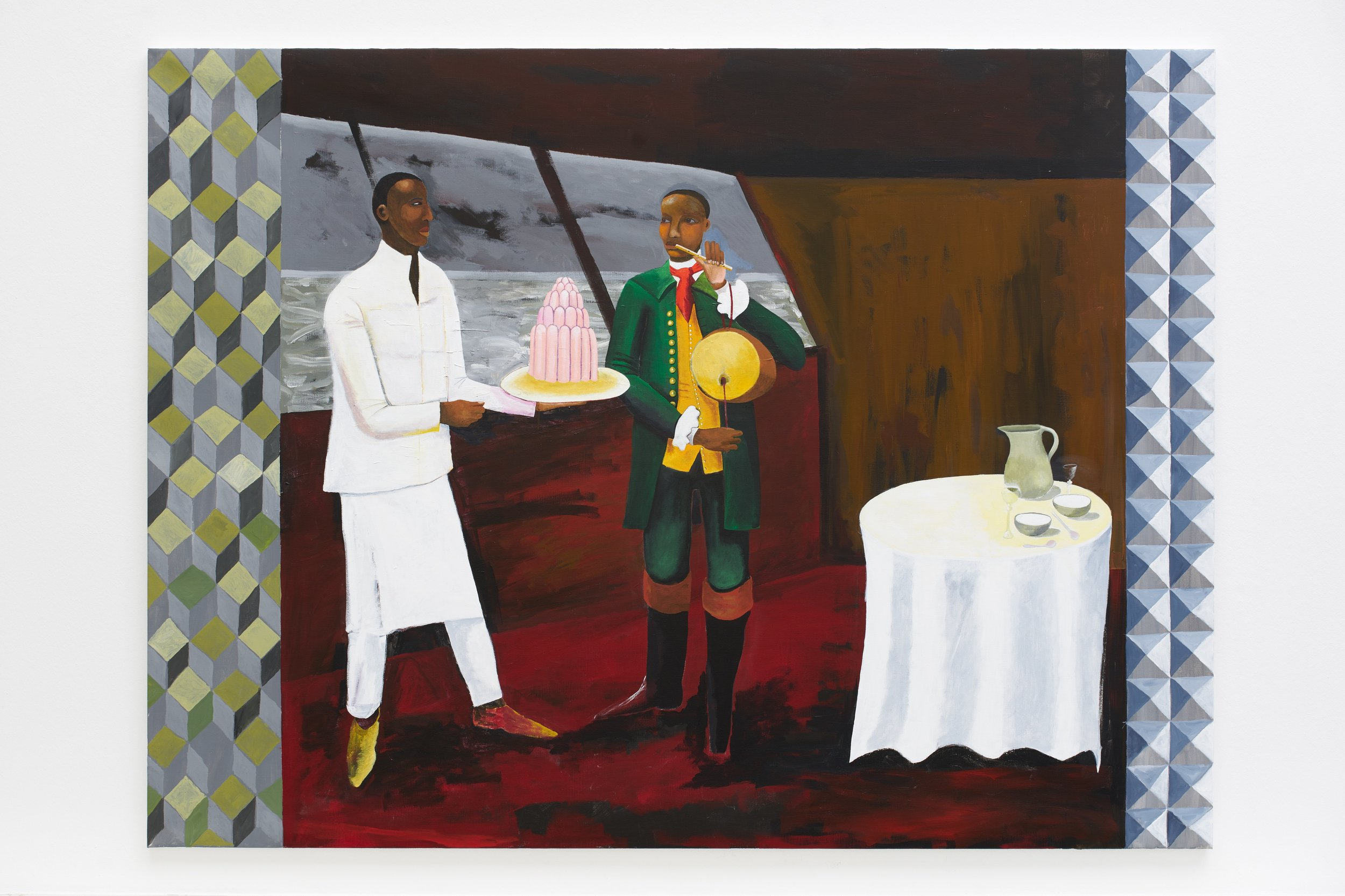 Lubaina Himid, Le Rodeur: The Cabin, 2017. Acrylic on canvas, 72 x 96 1/8 in (183 x 244 cm). Courtesy the artist and Hollybush Gardens. Photo: Stephan Bauman