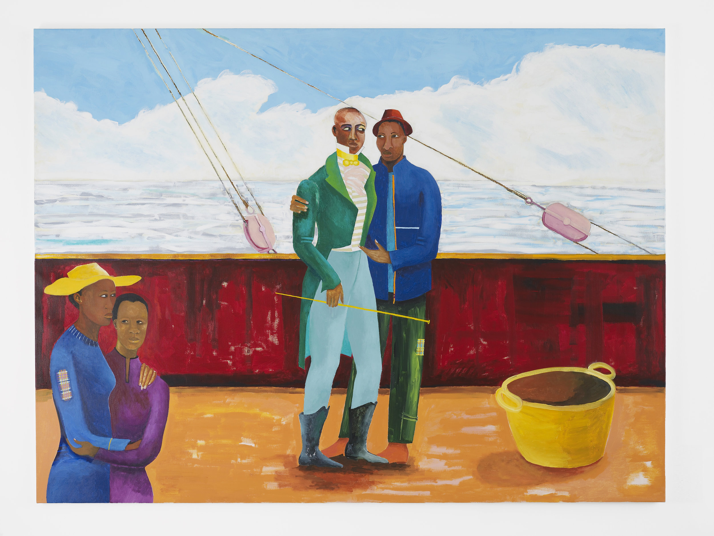 Lubaina Himid, Le Rodeur: The Captain and the Mate, 2017–18. Acrylic on canvas, 72 x 96 1/8 in (183 x 244 cm). Courtesy the artist and Hollybush Gardens. Photo: Andy Keate