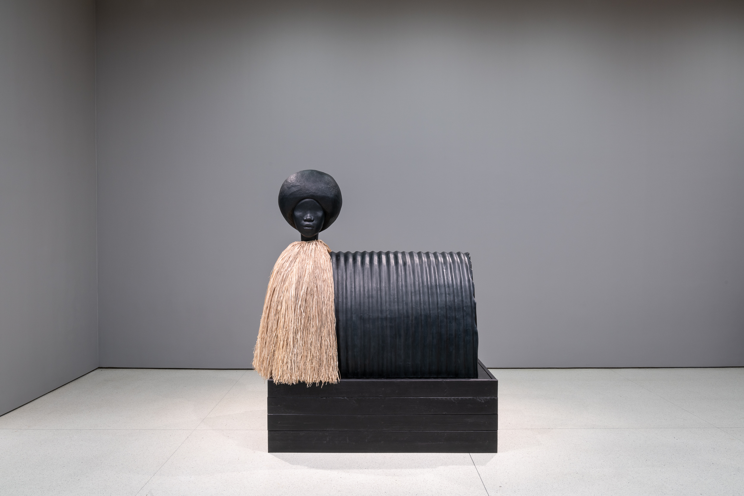 Simone Leigh  Sentinel , 2019 Bronze and raffia, 198.1 x 166.4 x 102.9 cm Courtesy the artist and Luhring Augustine, New York Installation view:  The Hugo Boss Prize 2018: Simone Leigh, Loophole of Retreat , Solomon R. Guggenheim Museum, New York, April 19–October 27,2019. Photo: David Heald © 2019 The Solomon R. Guggenheim Foundation