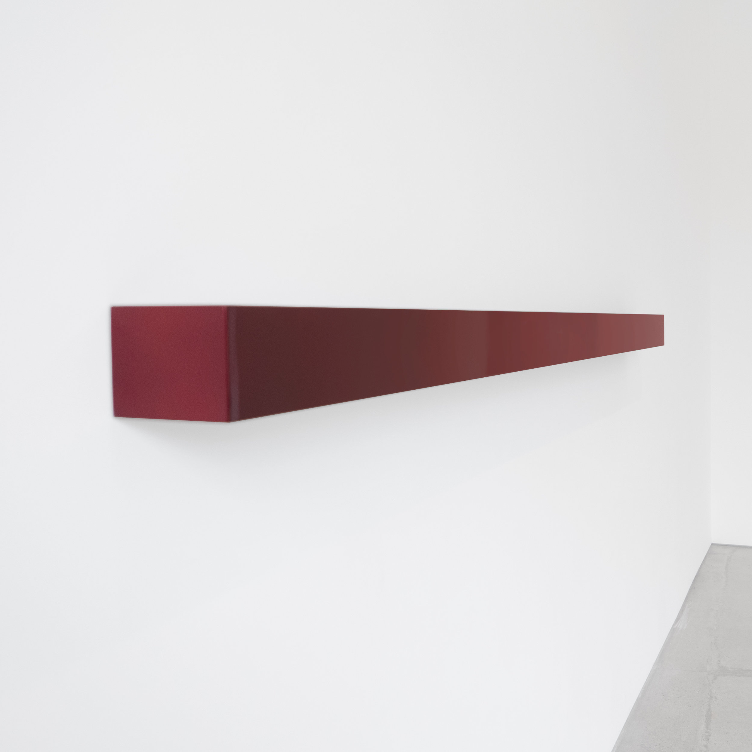 John McCracken Kanoon 2000 Lacquer, Polyester Resin, Fiberglass on Plywood  4.5 x 96 x 5.5 inches