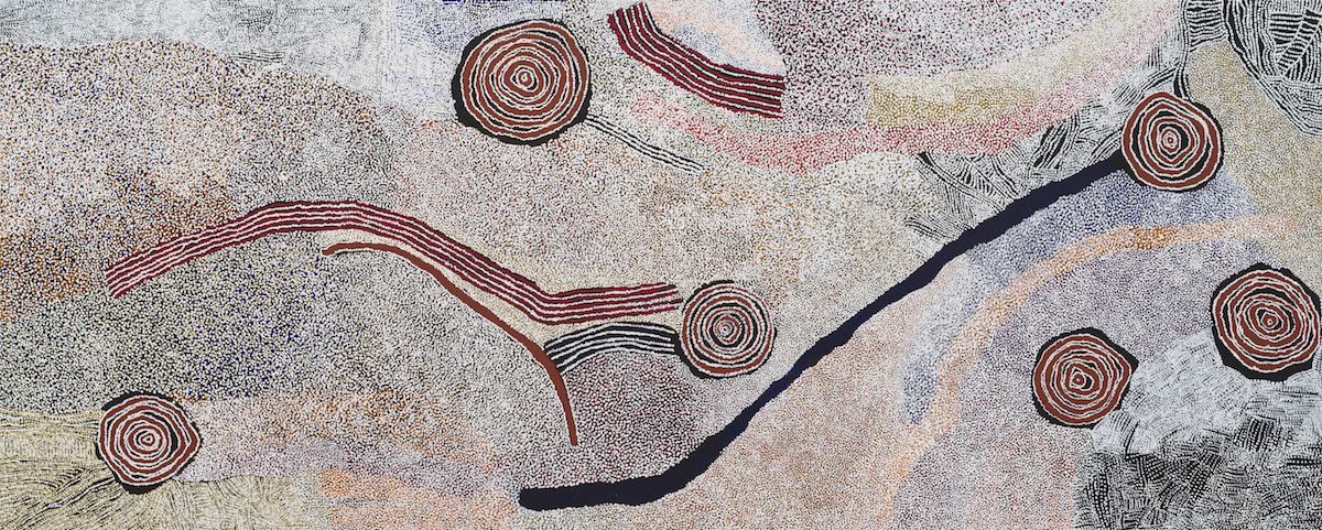 BILL WHISKEY TJAPALTJARRI  Rockholes and Country Near the Olgas , 2007 Synthetic polymer paint on linen 80 3/4 x 118 1/8 in 204.9 x 300 cm  © Bill Whiskey Tjapaltjarri Photo: Rob McKeever Courtesy Gagosian