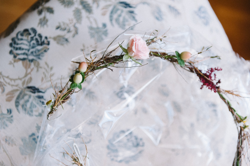 delicate flower wreath for the bride