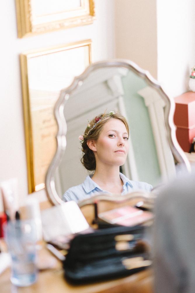 vanity shot of bride