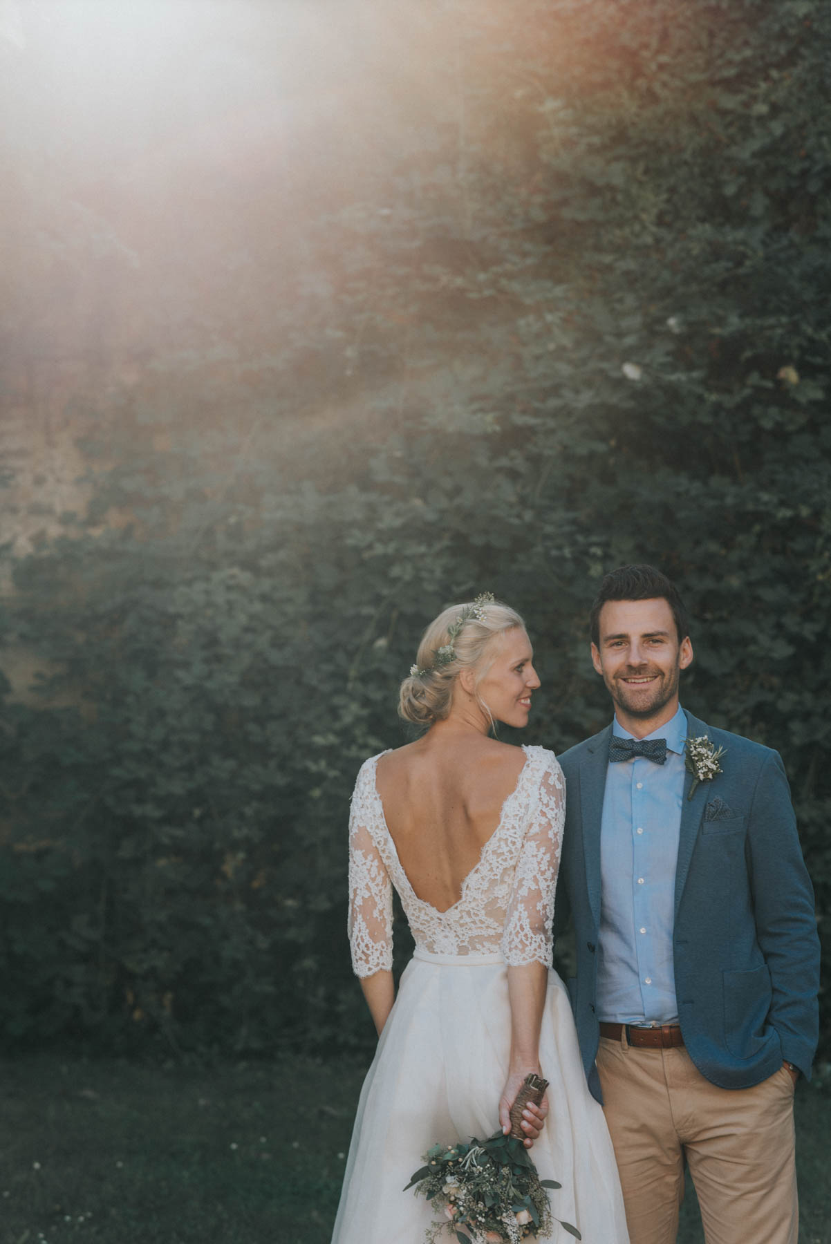 Backlit Bridal Couple