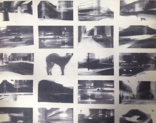 Assembly of drawings, charcoal on A3 1991