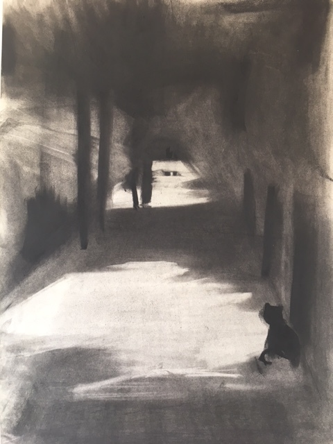 Cavercham Road, Kentish Town 2017 Charcoal on A2 paper