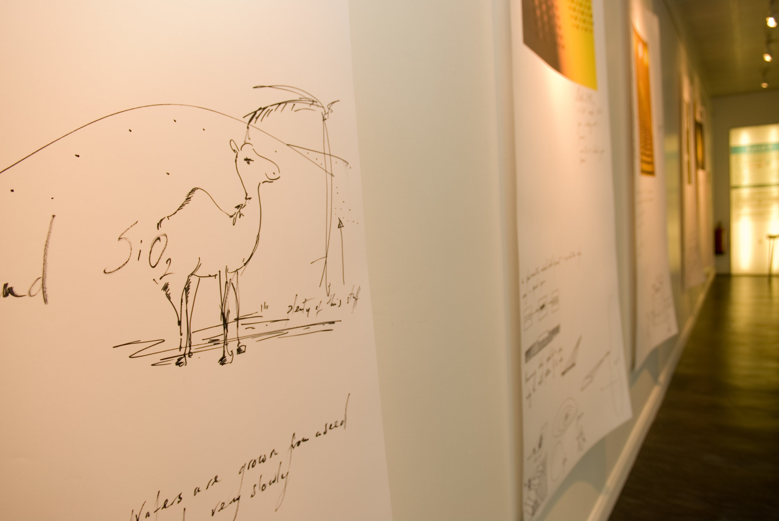 "the final exhibition combined large printed images with drawings and was accompanied by musicians ""the Paragon Assembly"" who composed music inspired by semi conductors."
