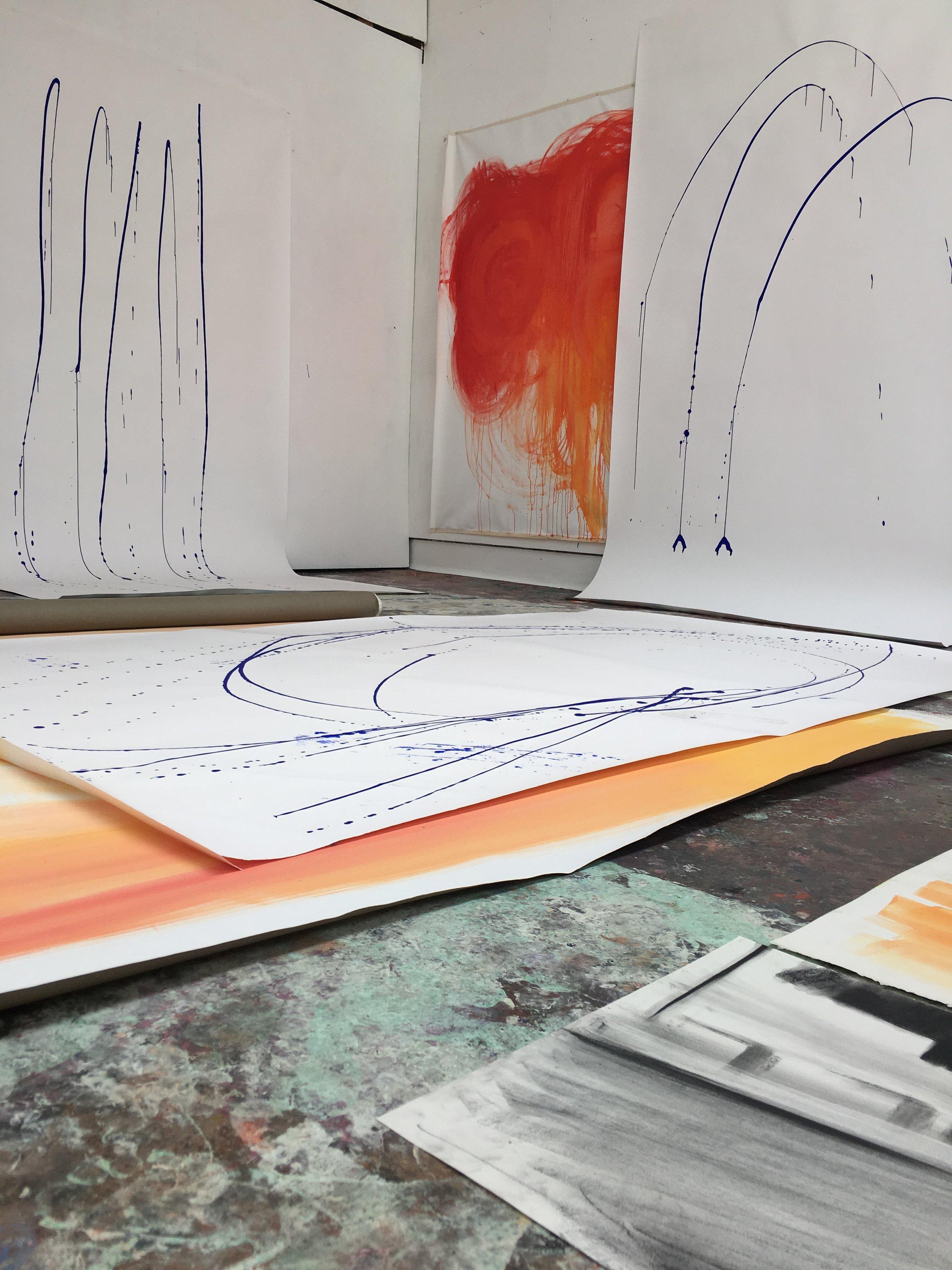 blue watercolour action paintings 2018 watercolour on paper 120 x 100 cm each