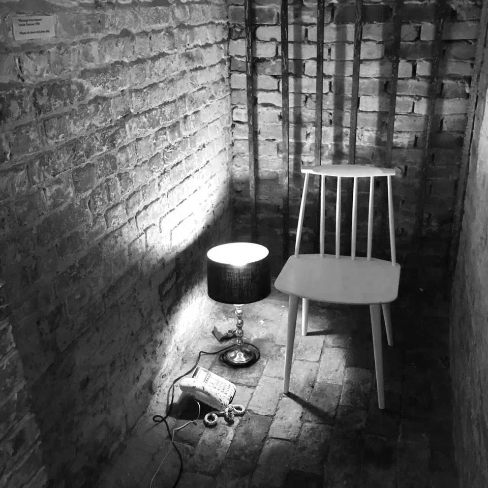 """""""Message From Heaven"""" chair, answerphone message, light, 2016"""