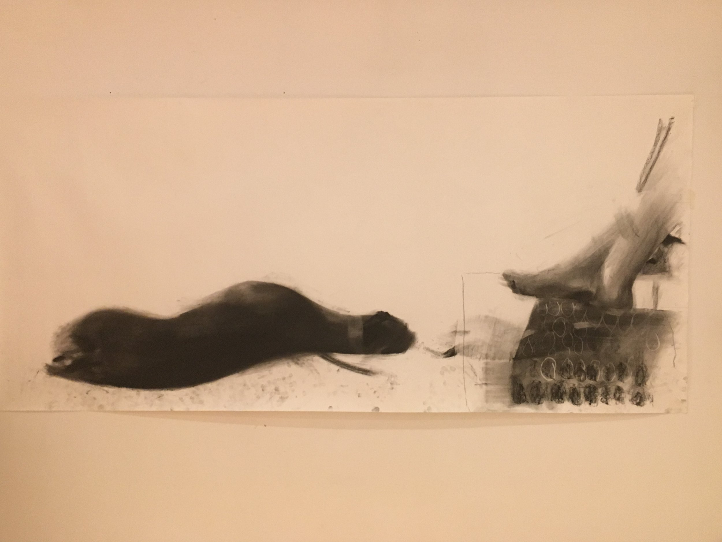 greyhound at a woman's feet, charcoal on paper  200 cms x 80 cms 2019