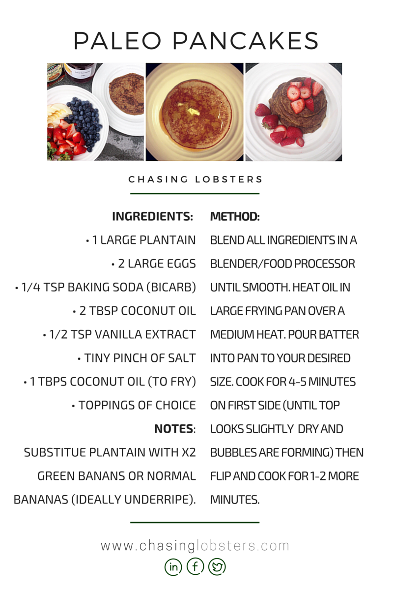 Infographic of healthy paleo, gluten-free pancake recipe with photos of homemade paleo pancakes.