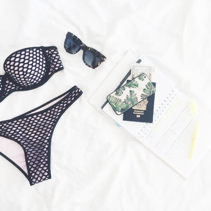 Photo of bikini, diary and passport