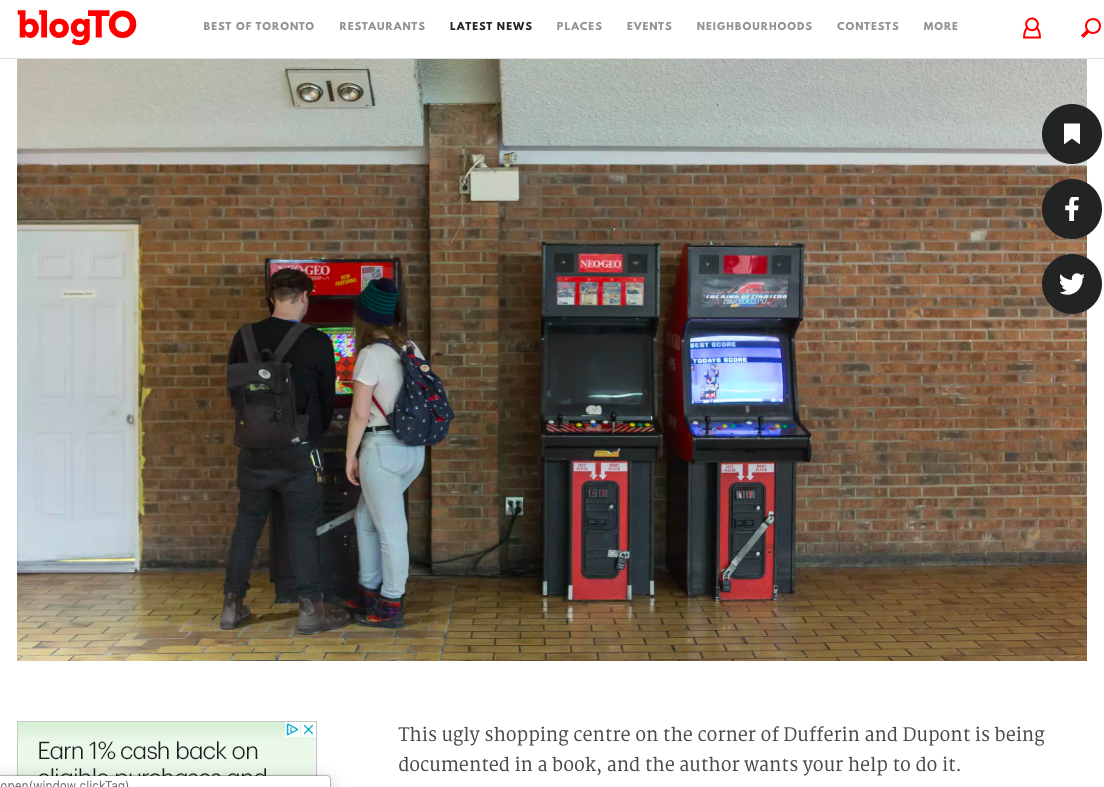 - An article in BlogTO about the Galleria Mall book.