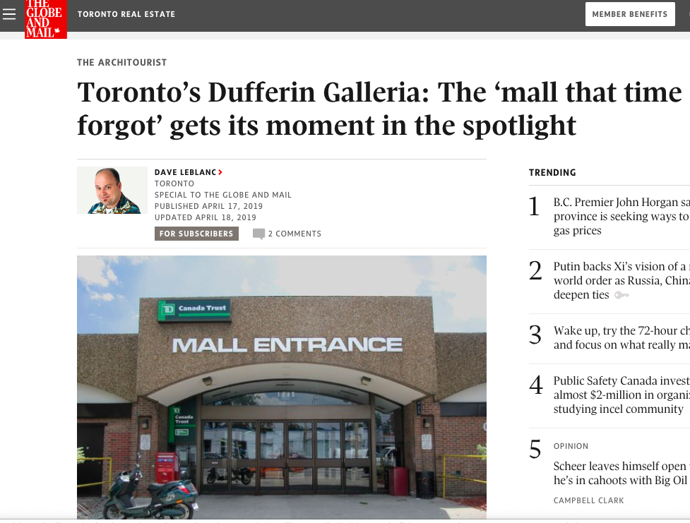 - Article in the Globe and Mail about Galleria Mall and the related photo exhibit at Contact Photography Festival.