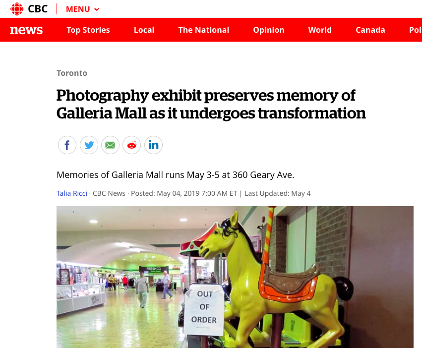 - CBC News article about the Galleria and related photo exhibit at Contact Photography Festival.