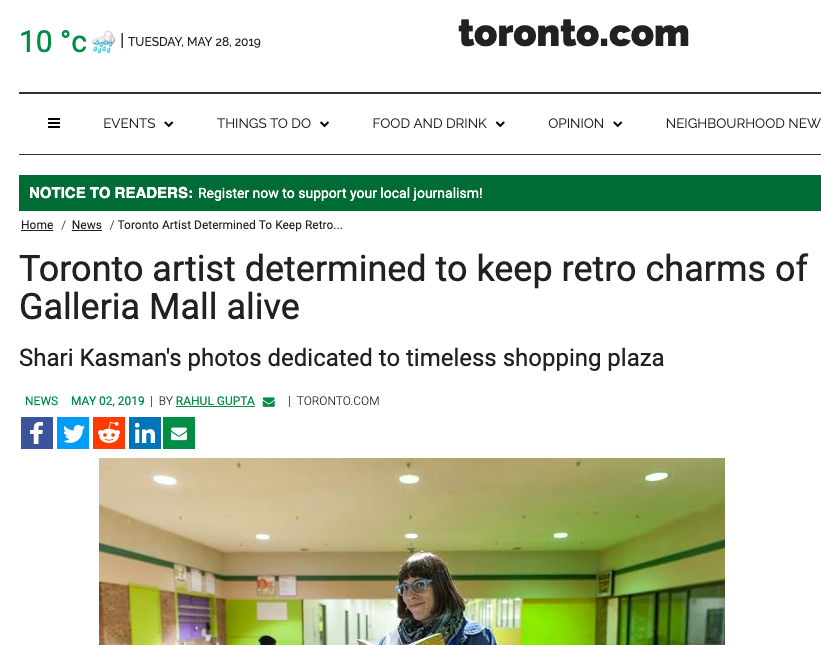 - Article for toronto.com about the Galleria and related photography.