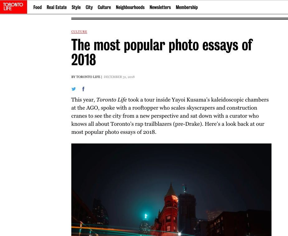 - The Galleria Mall photo essay named one of the most popular in Toronto Life in 2018.