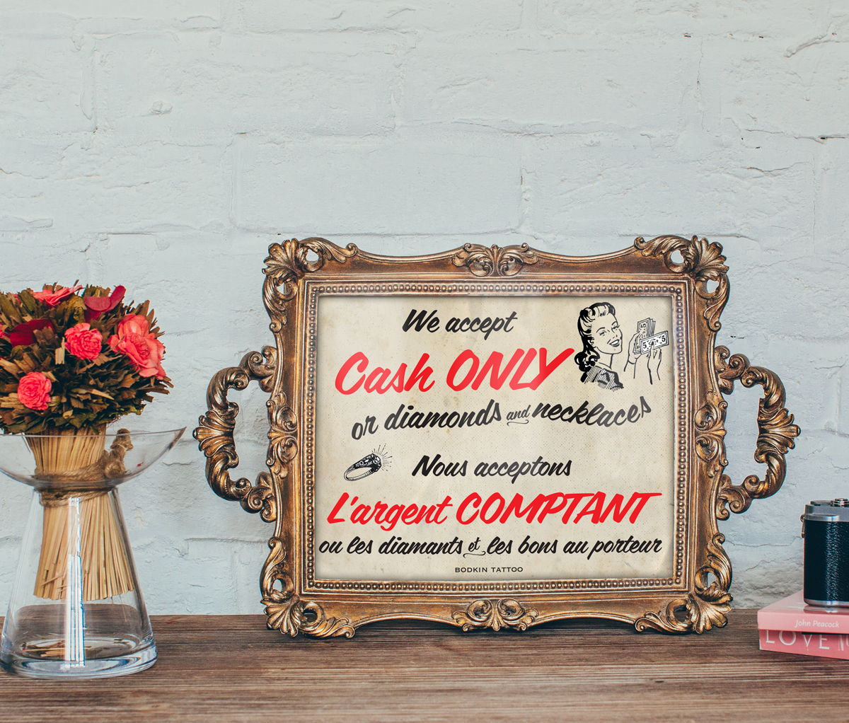 "Affiche ""Cash Only"" pour Bodkin Tattoo, 2016"