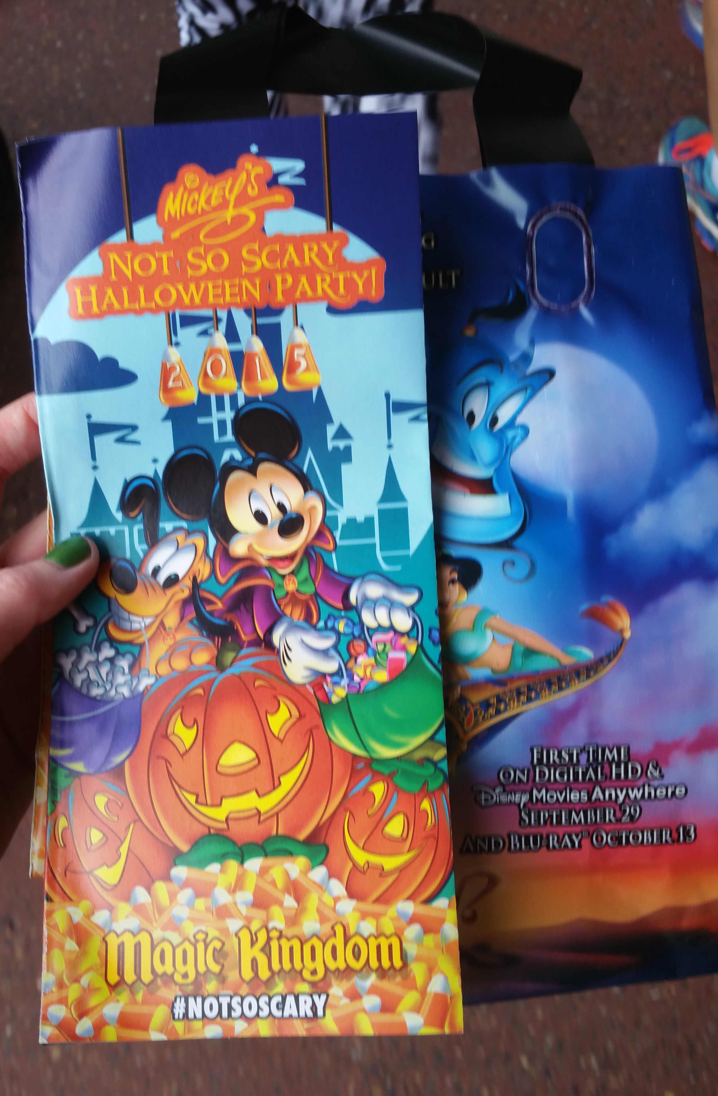Entering the park we were handed a Mickey's Not-So-Scary Halloween Party park map and also a bag for candy! The park map had the places to collect candy marked,I wasn't with my kids this night so I collected candy to take home to them :)