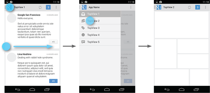 """Users can open the drawer panel by touching the navigation drawer """"hamburger"""" indicator,taken from the Android developer website"""