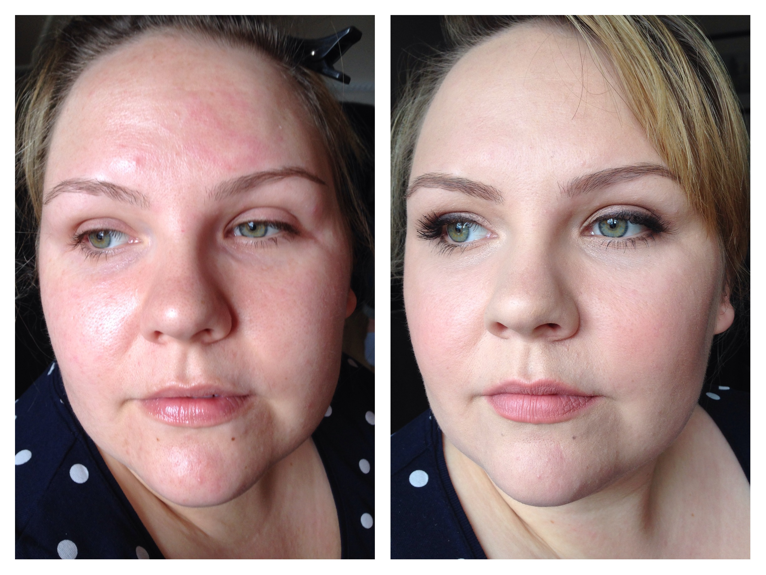 Using the colour corrective wheel to cover a red based skin tone and Arbonne liquid perfecting foundation.