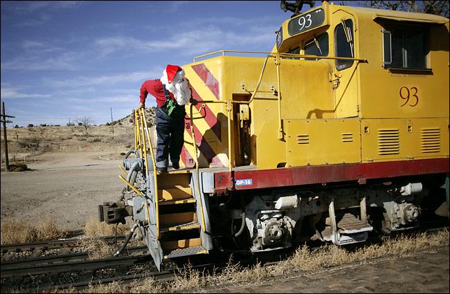 Santa Claus rides the train