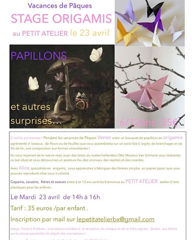 Papillon, ce billet doux plié cherche une adresse de fleur (cit. J. Renard)  Copains copines, frères sœurs  entre 6 et 12 ans je vous attend demain chez @lepetitatelier33  #origami #stage #atelier #origamiart #enfant #bordeaux #bordeauxmaville #vacances de #paques #papillon #nature #printemps #art #creation