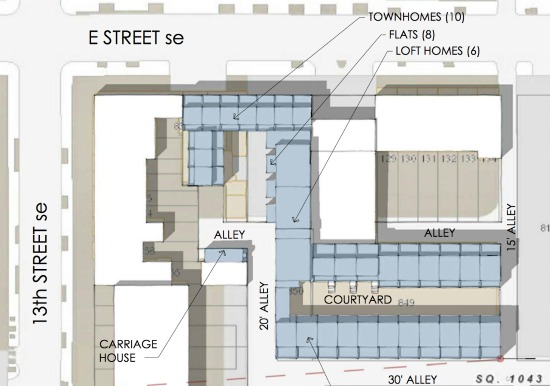 Preliminary site design (January 2015) for Watkins Alley.