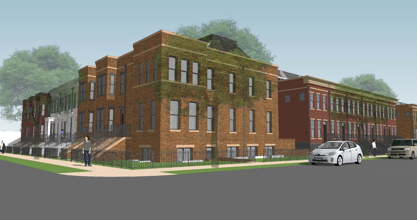 The western townhomes viewed from 13th and D St SE