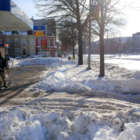 Cutting through the Sunoco station is the only way around this portion of uncleared sidewalk.