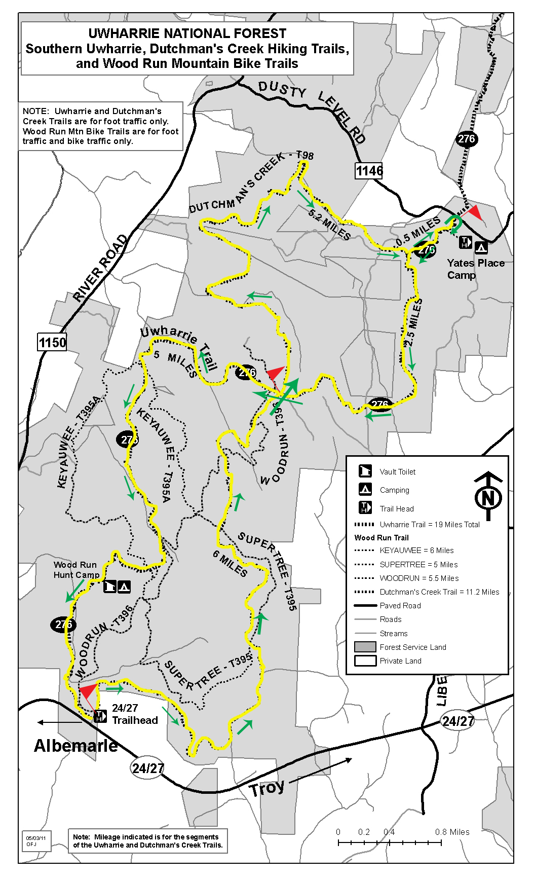 Map of the trail portion of URE Marathon.