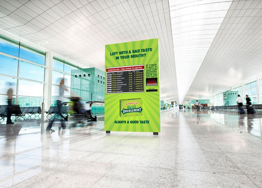 Innovative Doublemint dispenser machines will be placed in airports, events or stadiums. If your flight is cancelled or delayed, or if your team lost, scan your boarding pass or tickets to claim a piece of Doublemint and get rid of that bad taste in your mouth.