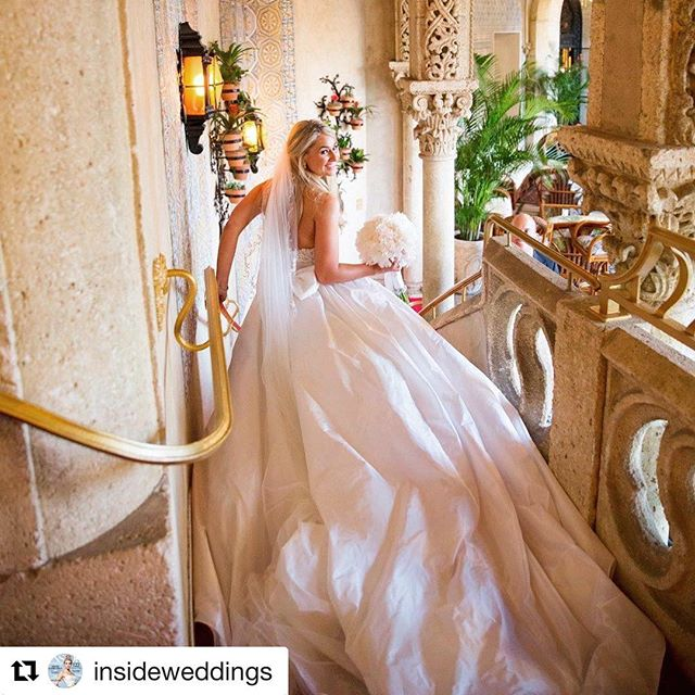 Wifey beautifying the feed ❤️ — @insideweddings sharing memories from our #specialday 🥂 . . . . . . . #ceceandmauricio #love #loveyou #weddingdress #wedding #foreverinlove #loveher #palmbeach #reemacra #kleinfeldbridal #beautiful #wifey #weddingday  #bestday #bestdayever #smile #insideweddings #palmbeachwedding #bride