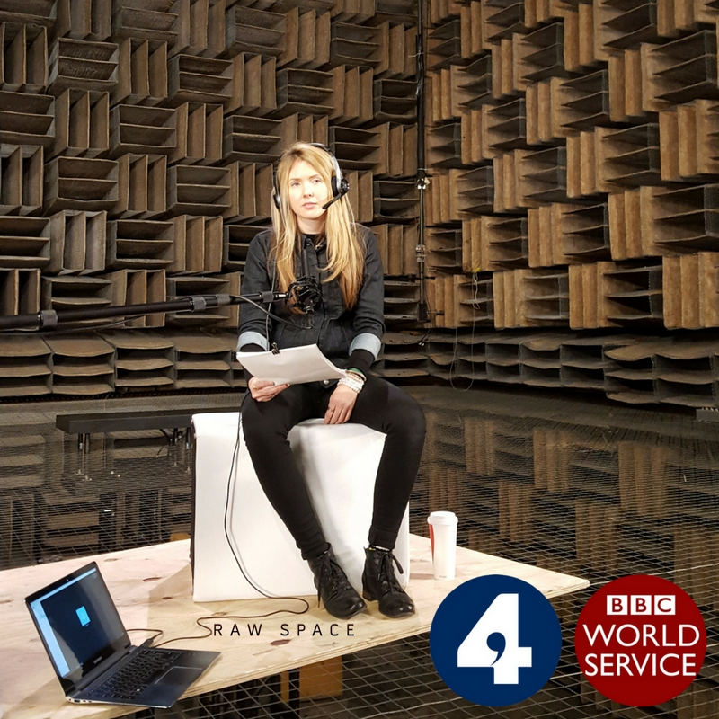 Beatie Wolfe in Bell Labs historic anechoic chamber talking to Gareth Mitchell and Bill Thompson from the BBC