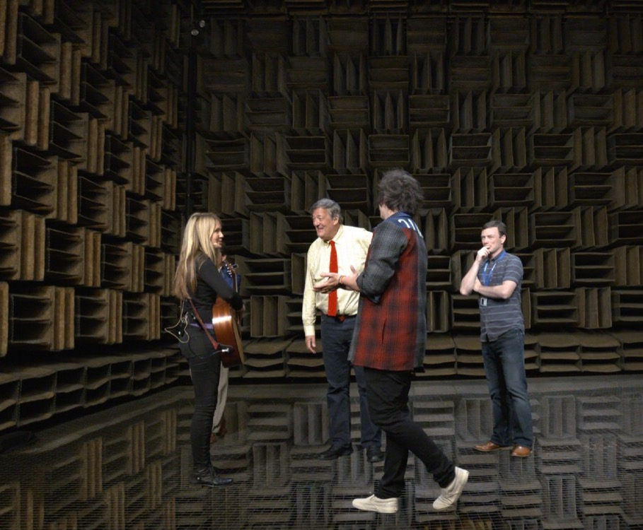 Beatie Wolfe performing to Stephen Fry in the Bell Labs anechoic chamber