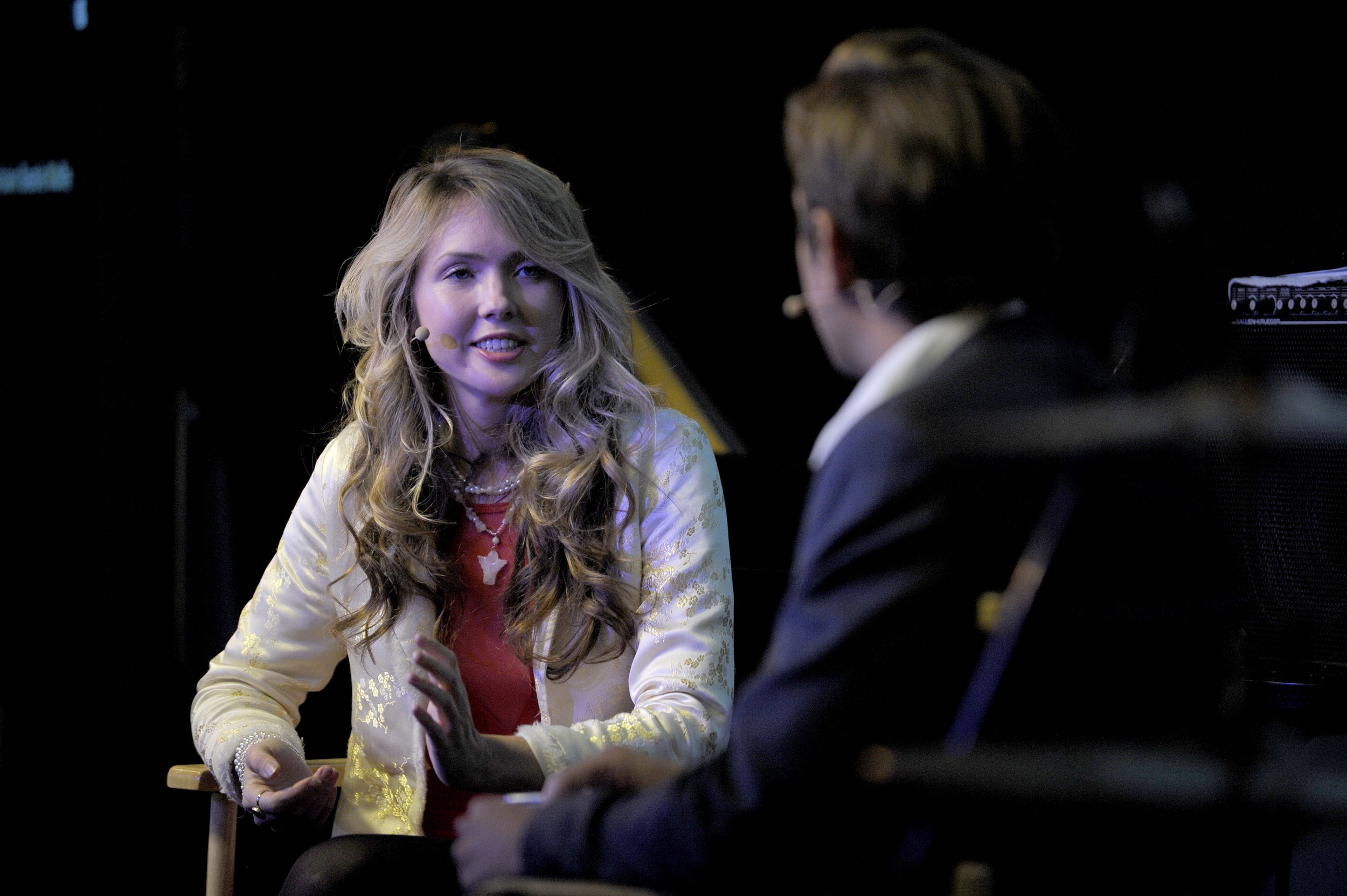 Beatie Wolfe & GQ's Charlie Burton at the London Apple Theatre -Oct162013- GQ's Interview.jpg