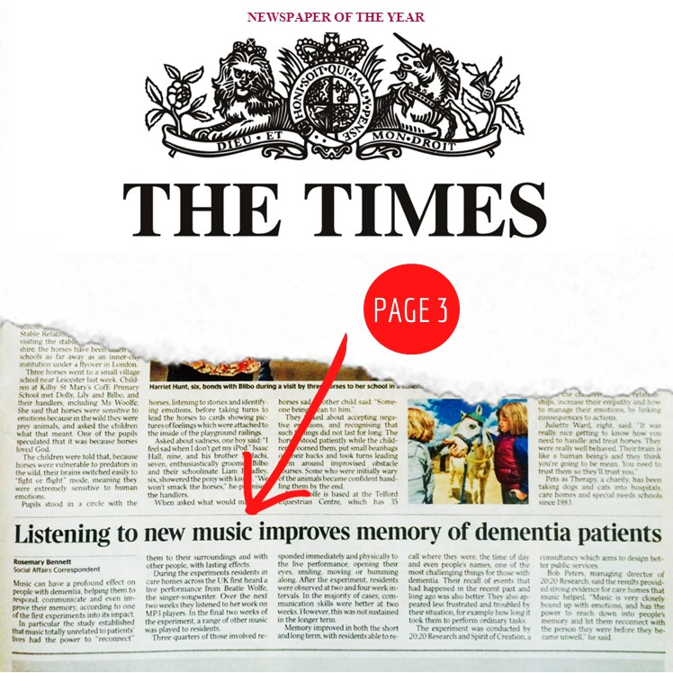 20150512 - The Times - Page 3 - Beatie Wolfe - Listening to Music Improves Memory of Dementia Patients - by Rosemary Bennett - FULL PAGE - NEW.jpg