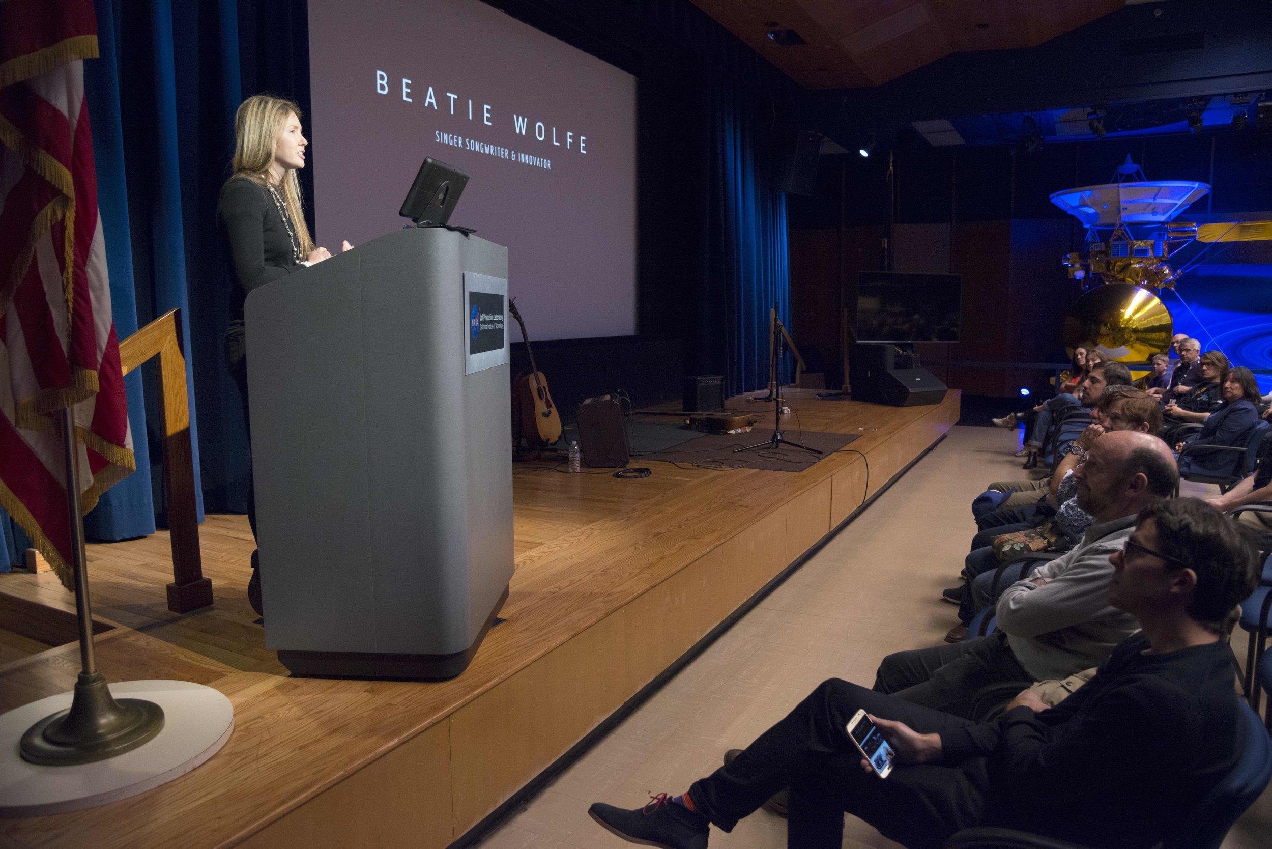 NASA's JPL invites Beatie Wolfe to talk
