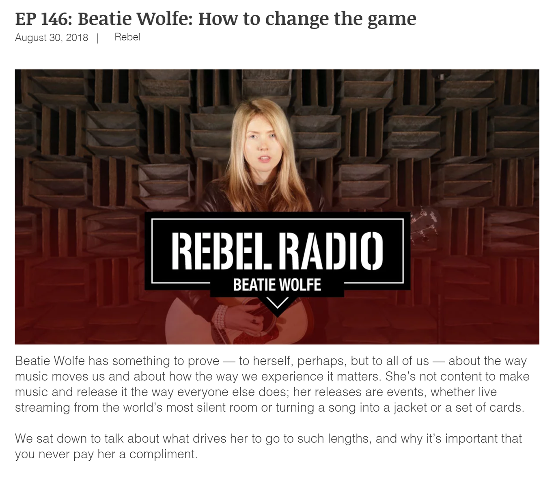 Beatie Wolfe on Rebel Radio
