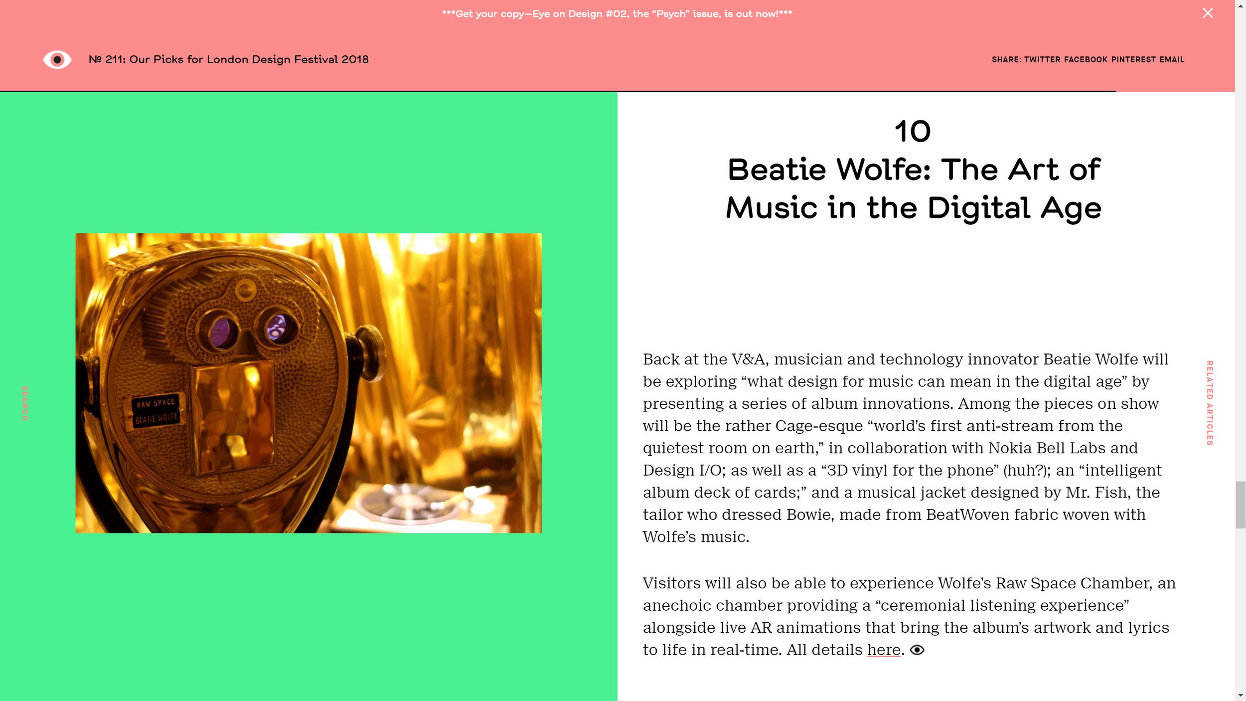 AIGA website feature Beatie Wolfe