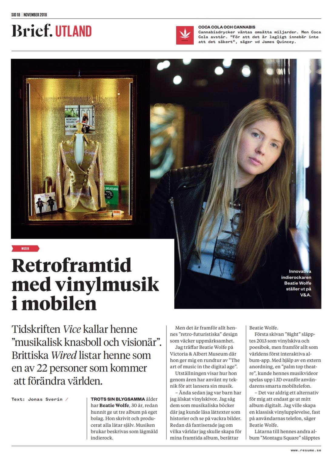 Resume Magazine (Sweden) on Beatie Wolfe p.18