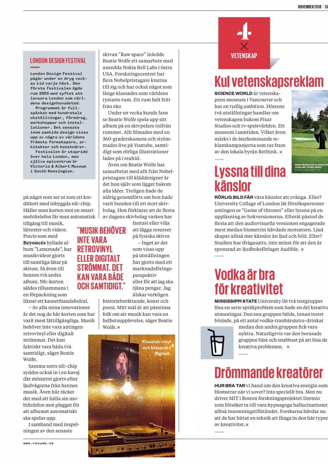 Resume Magazine (Sweden) on Beatie Wolfe p.19