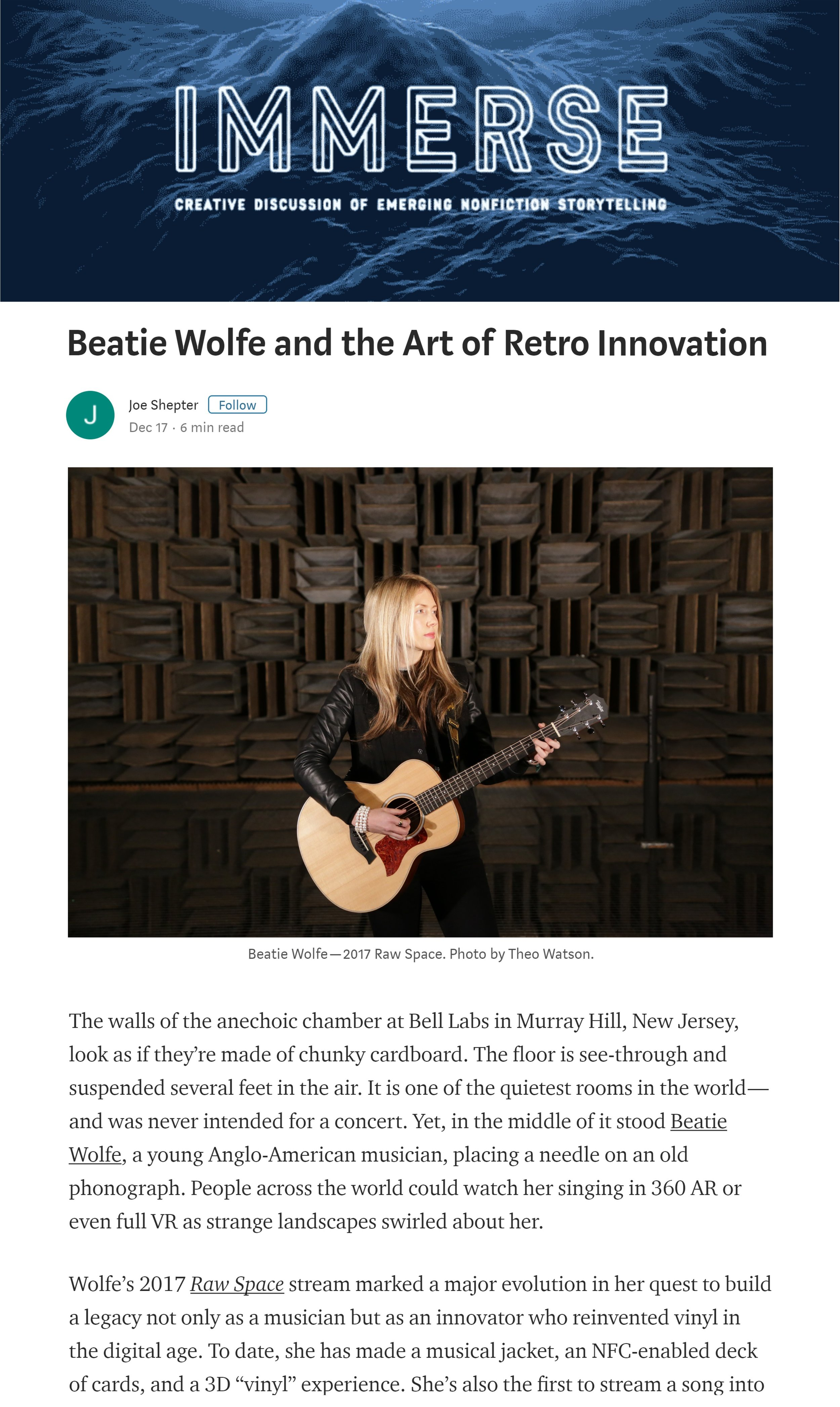 Immerse Magazine article on Beatie Wolfe