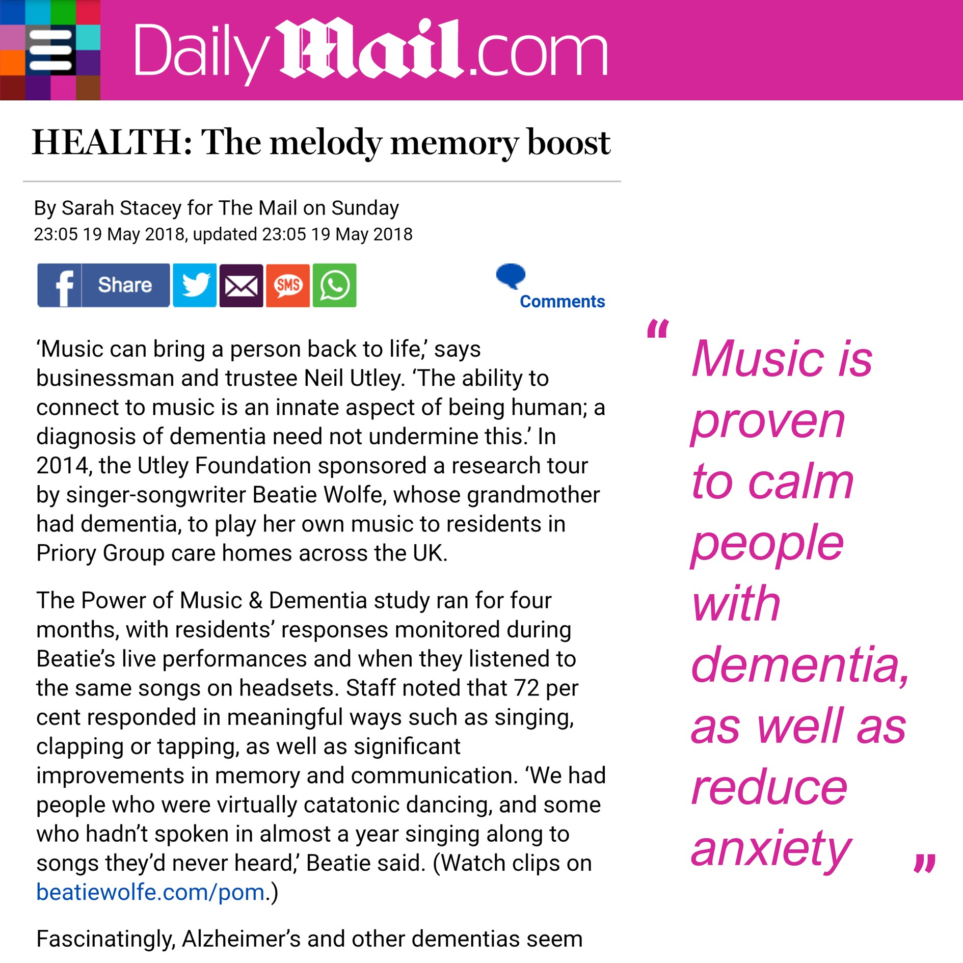 Power of Music and Dementia with Beatie Wolfe and The Utley Foundation