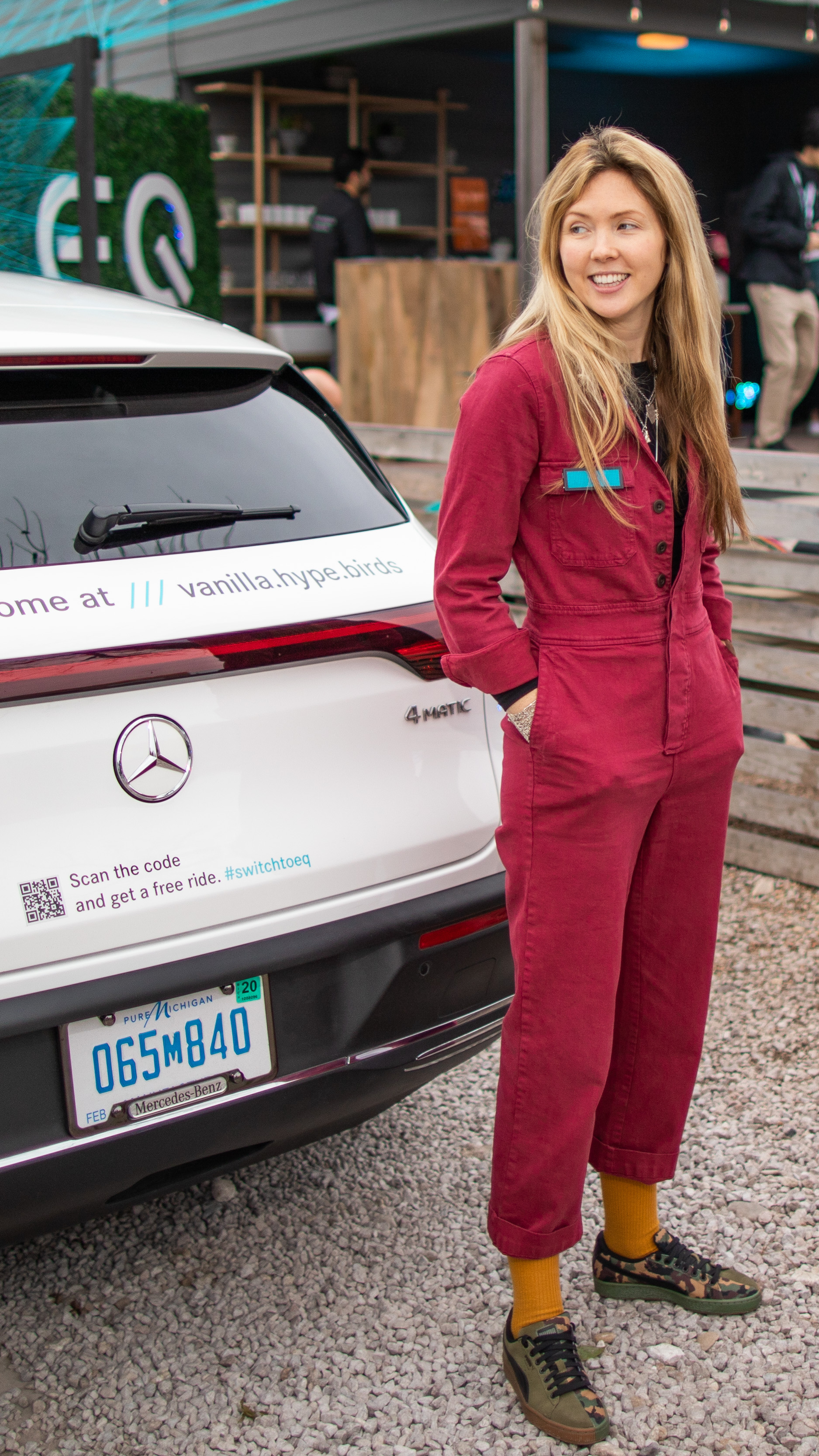 Beatie Wolfe with the Mercedes EQC at SXSW