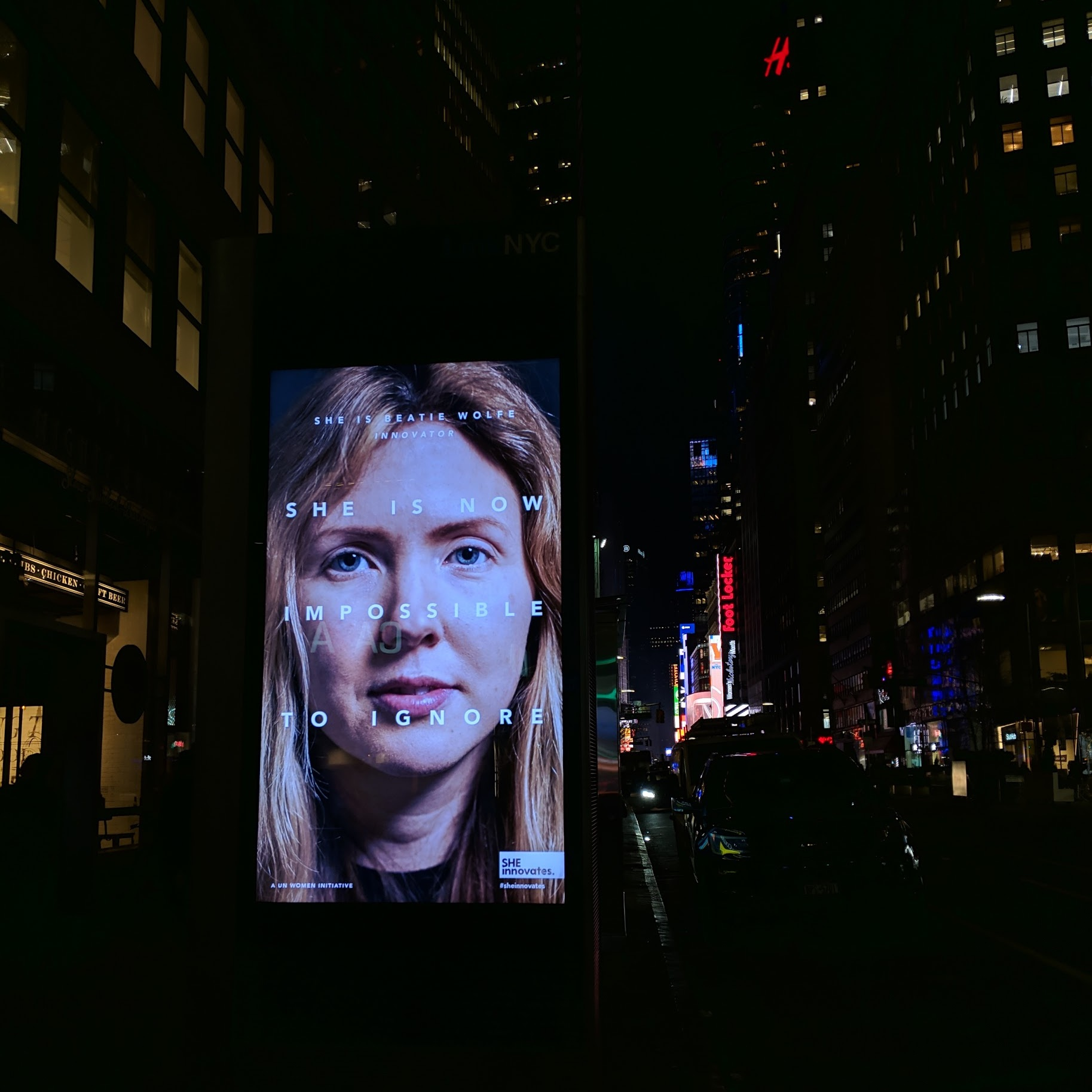 NYC Time Square approach ft Beatie Wolfe in UN campaign.JPG