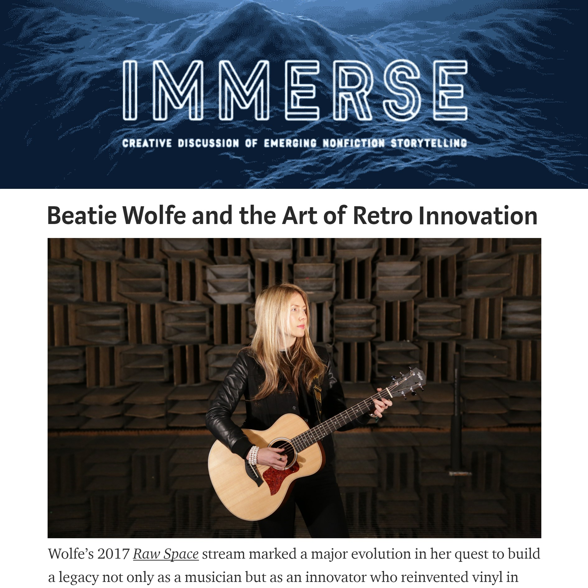 Immerse Article on Beatie Wolfe
