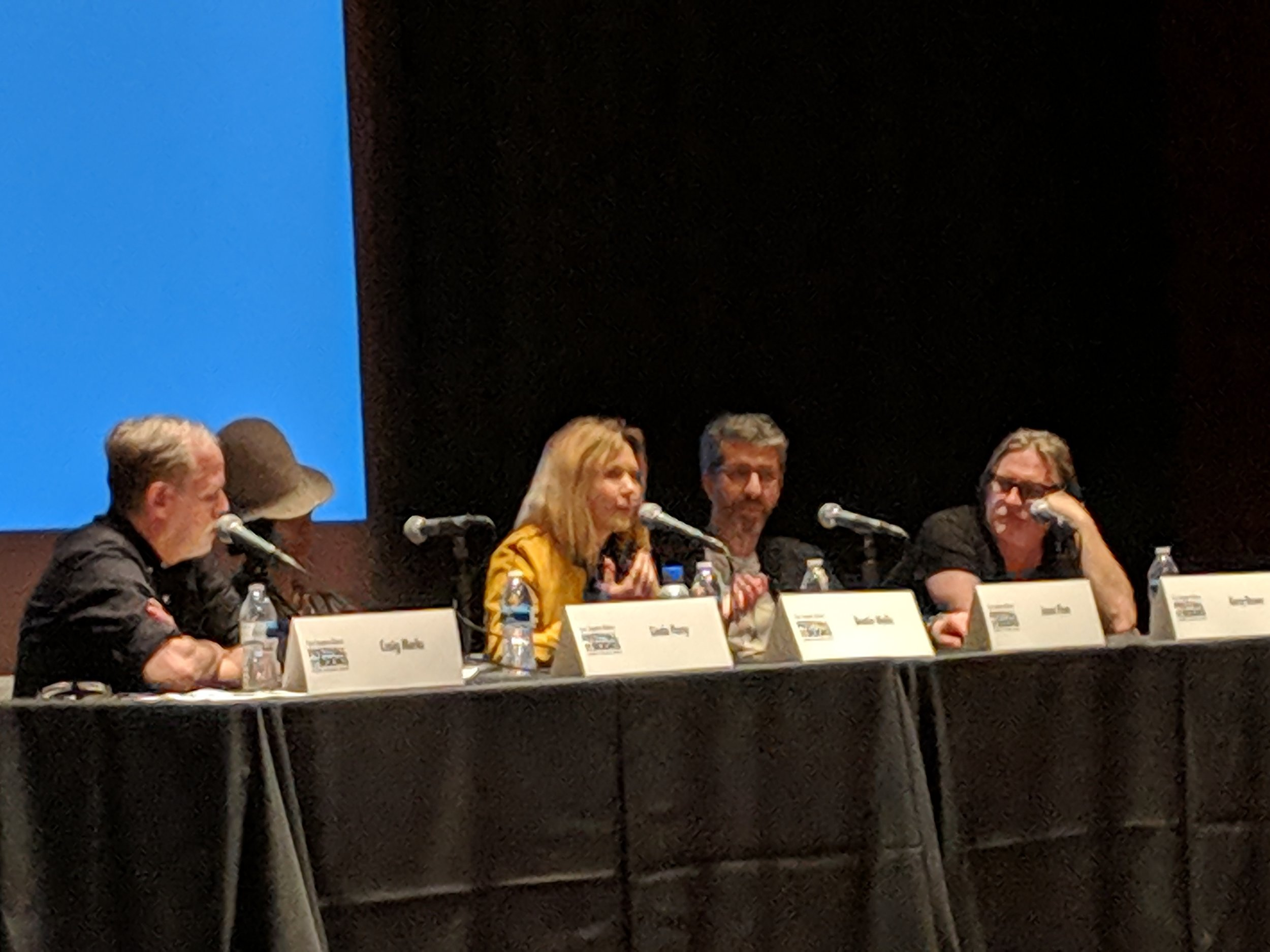 Beatie Wolfe sharing a thought with Jason Flom, Kerry Brown, Linda Perry and Craig marks