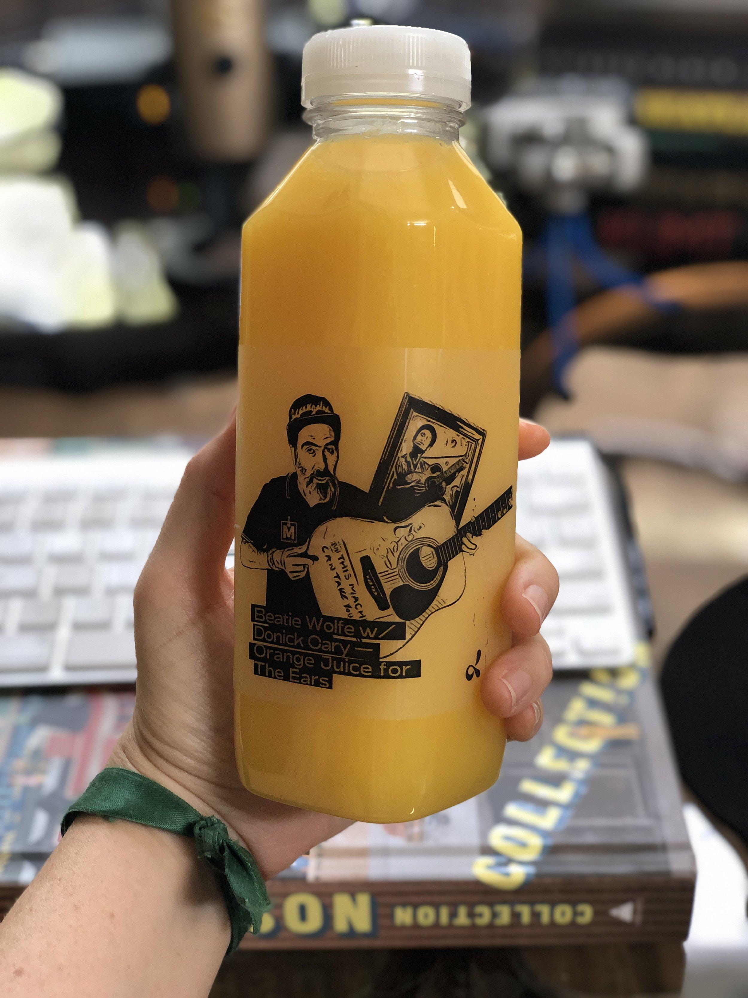 Donick Cary on Orange Juice bottle on Beatie Wolfe's Orange Juice for the Ears dublab radio show