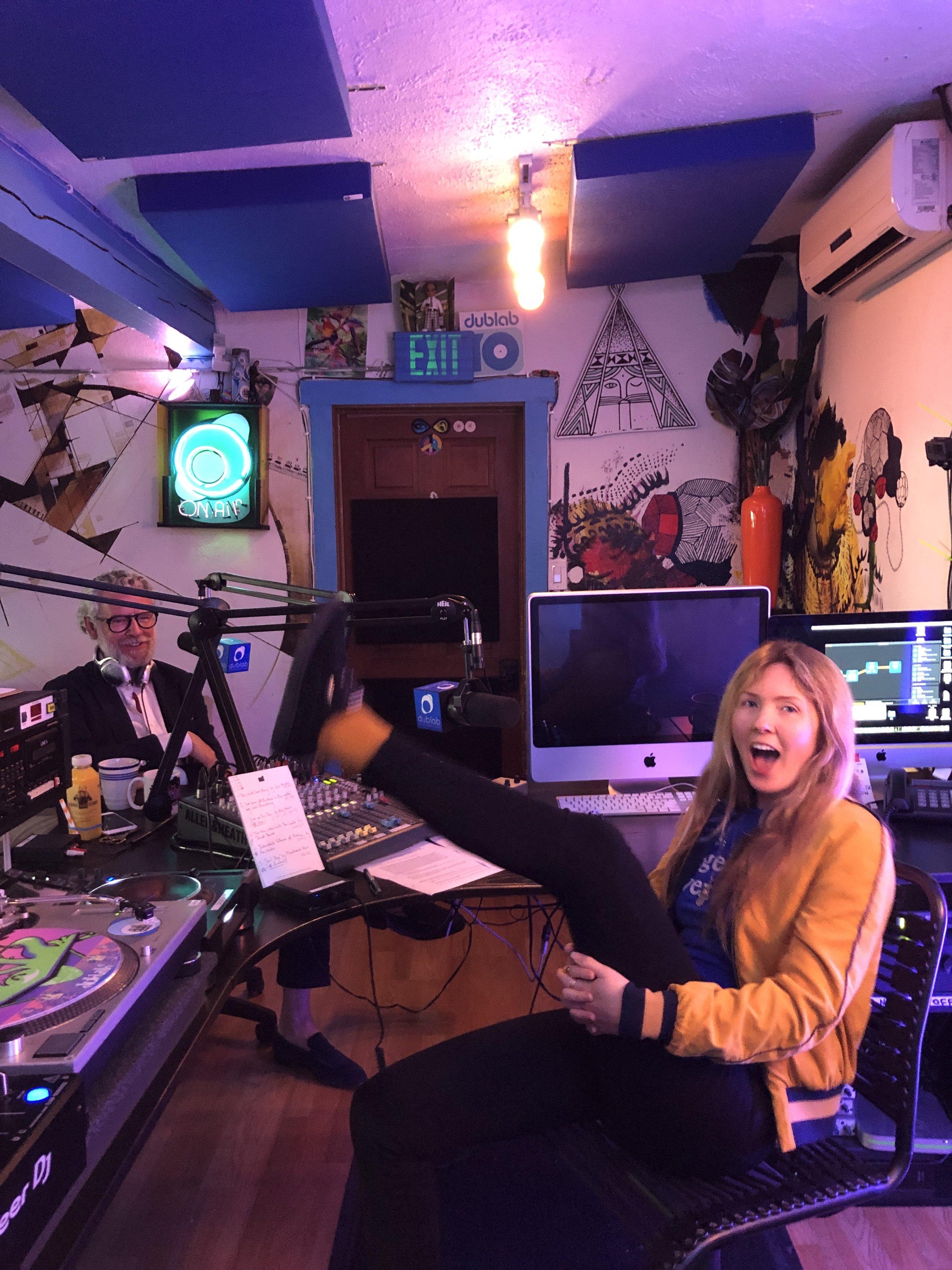 Beatie Wolfe and David Mason on air - LA's dublab Radio